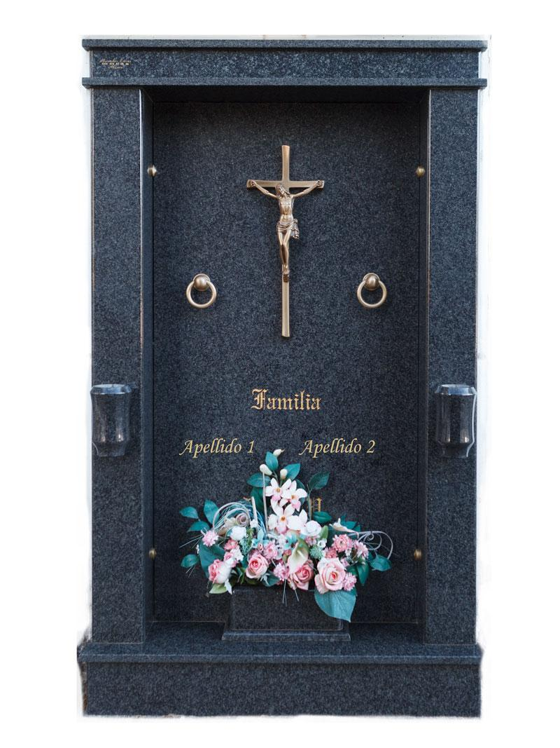 Forrado doble con aplique de crucifijo de bronce