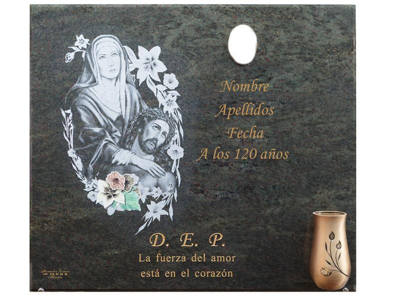 Lápida con imagen de Piedad en laser con incrustacion de flores en cerámica